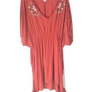 Time and Tru Embroidered Boho Tunic Tassel Top 2X